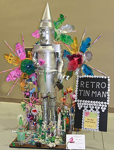 High school students joined in the fun creating funky junk. Decatur High School created this one with the retro tin man.