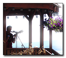Musicians playing in Gazebo on Willapa Bay