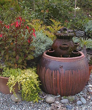 Strawberry Pot as a water feature.